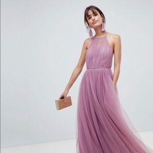 ASOS premium halter tulle maxi dress